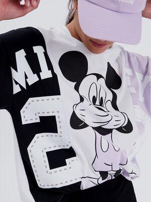T shirt manches courtes Mickey mauve femme