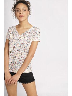 T shirt manches courtes cordon blanc femme