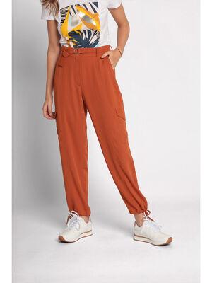 Pantalon cargo fluide ceinture orange fonce femme