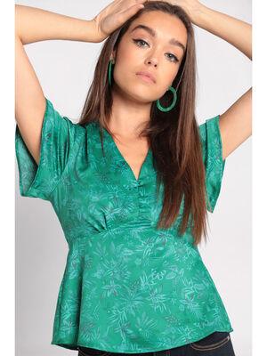 Blouse manches courtes vert femme