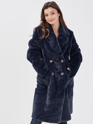 Manteau droit fausse fourrure bleu marine femme
