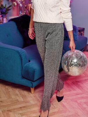 Pantalon large fluide gris argent femme