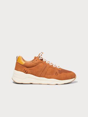 Baskets plates marron cognac femme