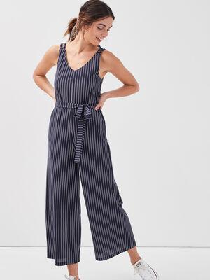 Combinaison pantalon ample bleu marine femme