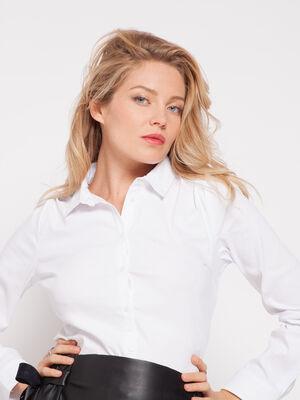 Chemise cintree en popeline unie blanc femme