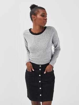 Jupe droite boutonnee en jean denim noir femme