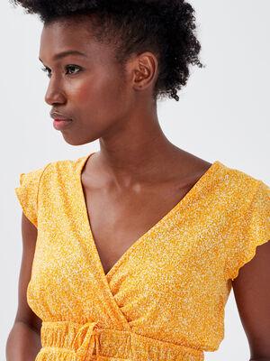 T shirt manches courtes orange femme