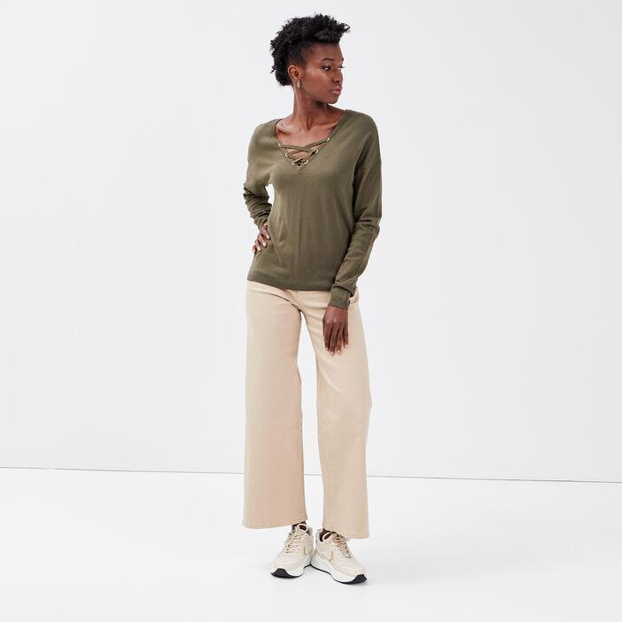 Pull col en V avec laçage vert kaki femme