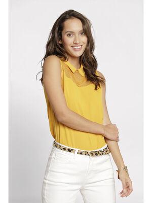 Debardeur col chemise jaune or femme