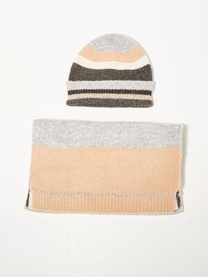 Lot bonnet et echarpe tricot ecru femme