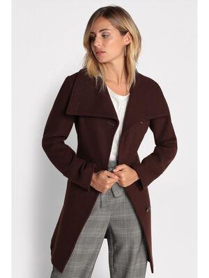 Manteau cintre a ceinture marron fonce femme