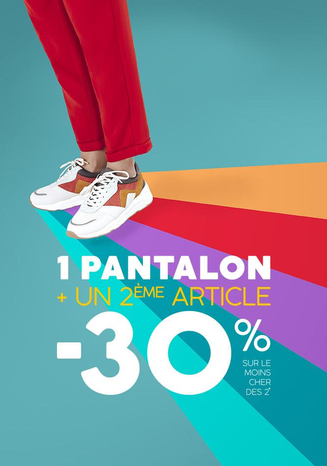 1 pantalon + un 2eme article,  -30% sur le moins cher des 2