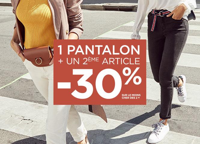1 pantalon + un 2ème article -30% sur le moins chers des 2*