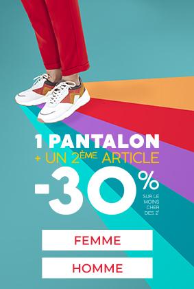 1 pantalon acheté -30% sur le 2eme article