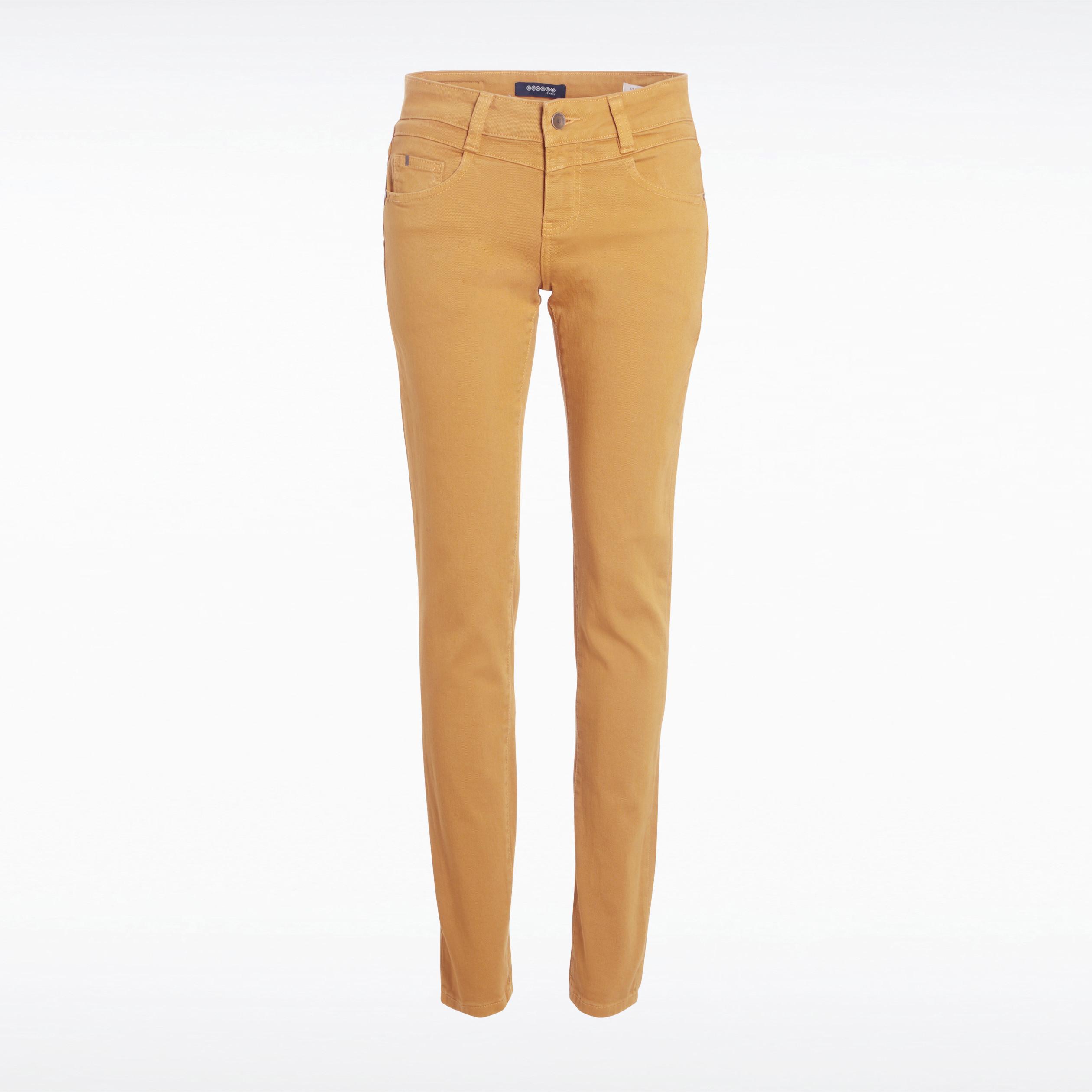 meilleur grossiste styles de mode magasin en ligne Pantalon slim 5 poches jaune moutarde femme