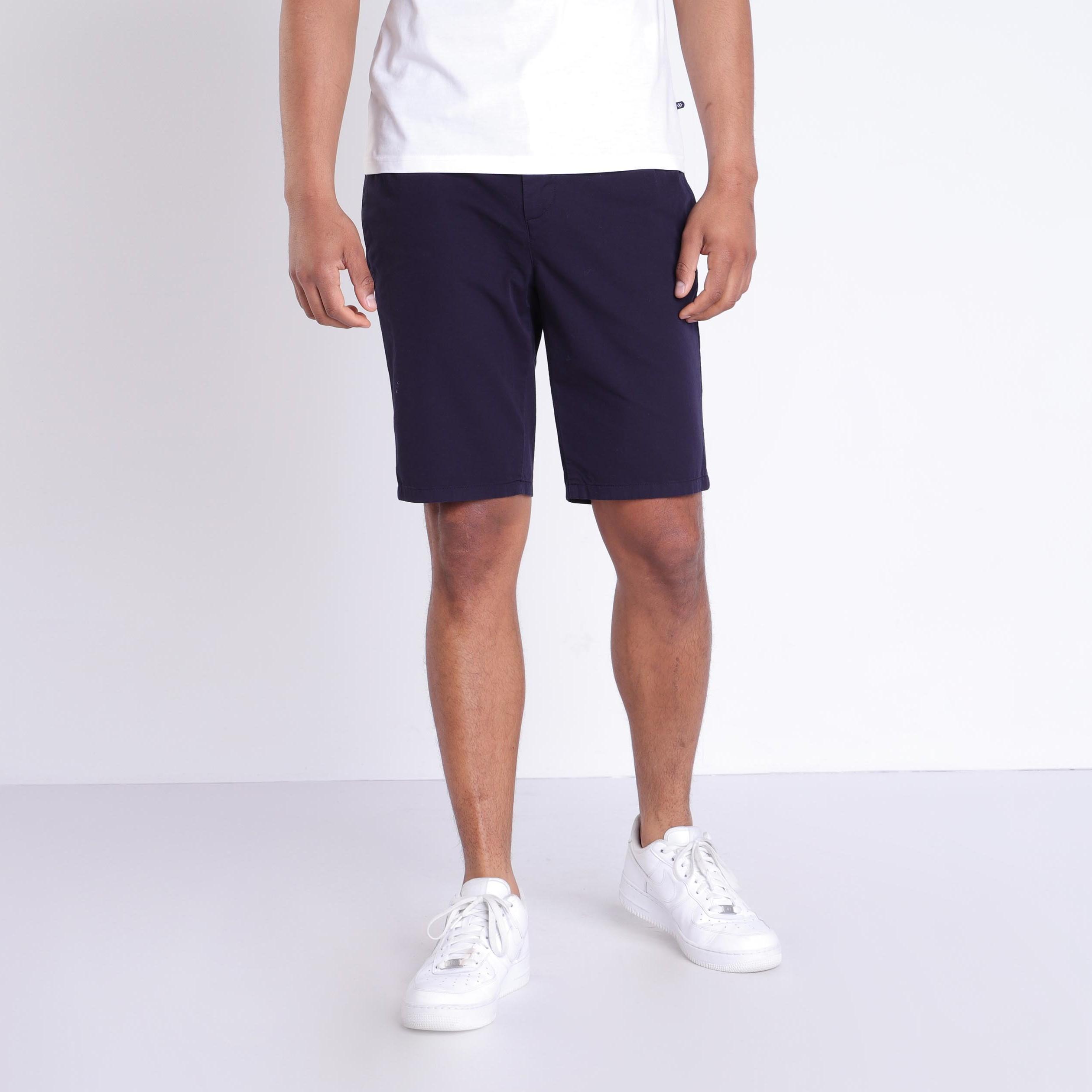 premier coup d'oeil design exquis professionnel de premier plan Short court à cordons rayés bleu foncé homme