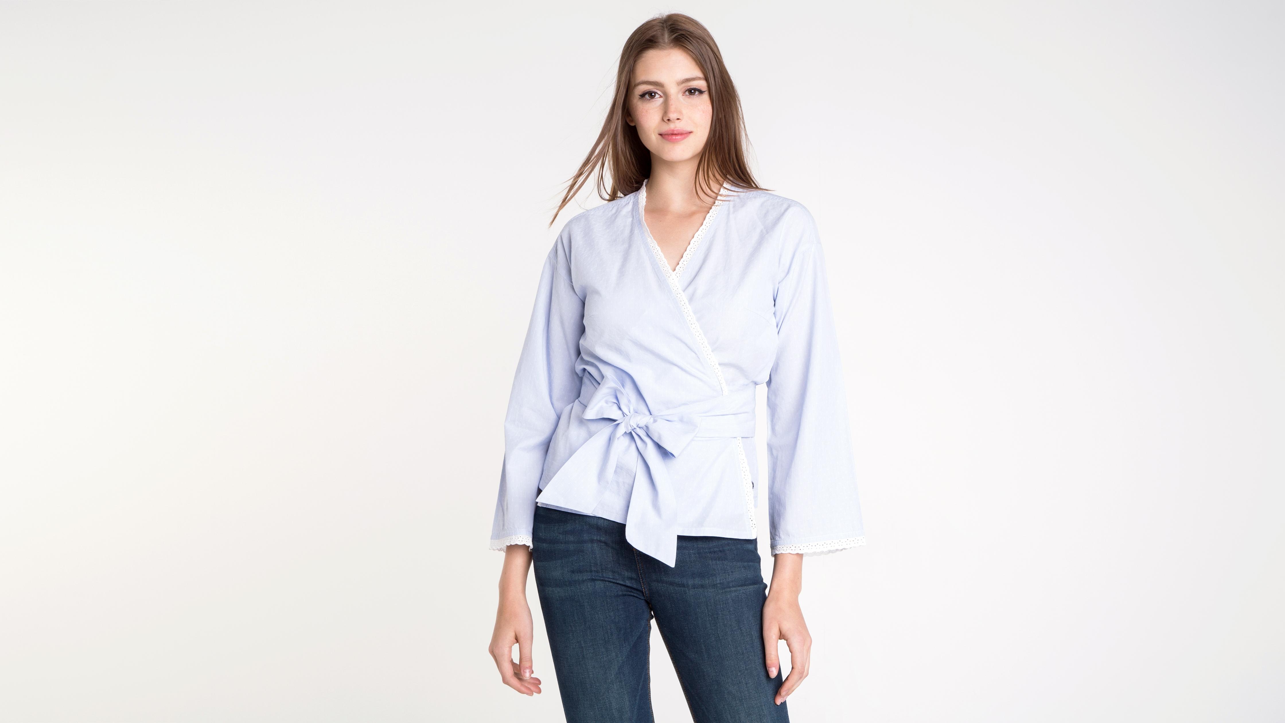 Kimono Croisé Esprit Col Femme Clair Bleu Chemise zMpVSU
