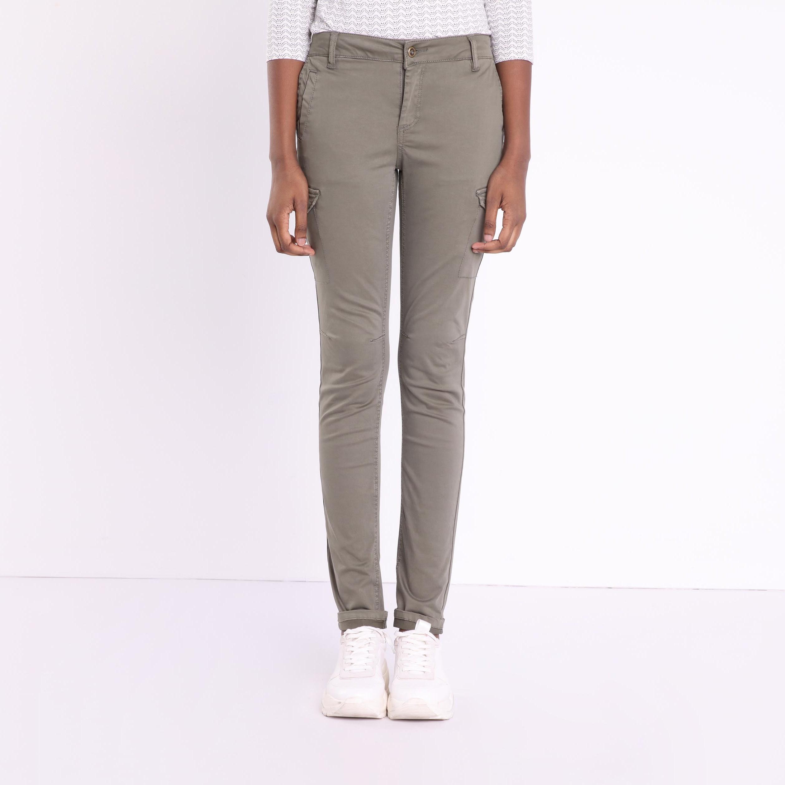 Femme Pantalon Poches Kaki Vert Skinny 7 29IeWHEYD