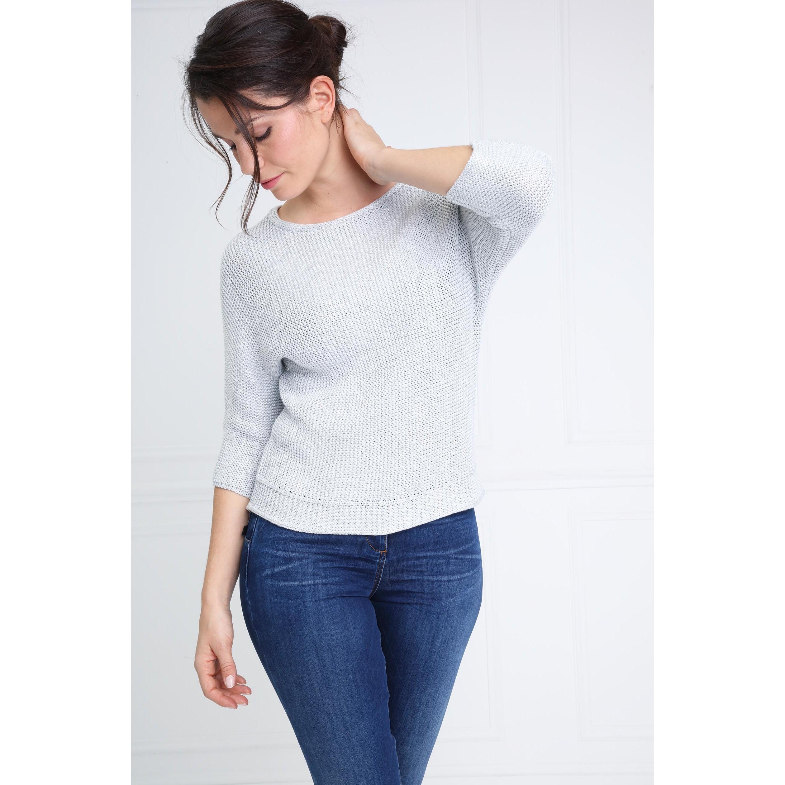 construction rationnelle vraiment à l'aise super populaire Pull col rond ouverture dans le dos gris clair femme