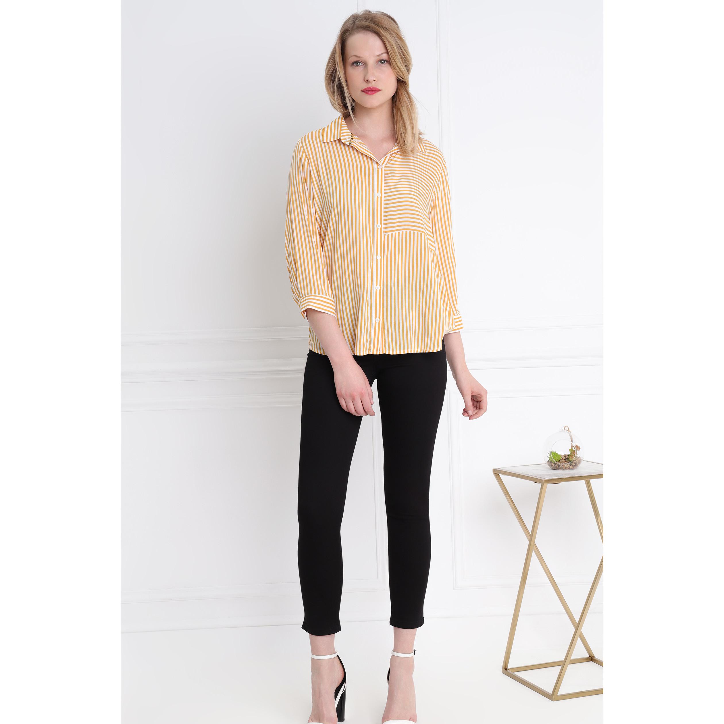 Camisa rayas de amarillo a dos oro tonos en u3FKcTl1J