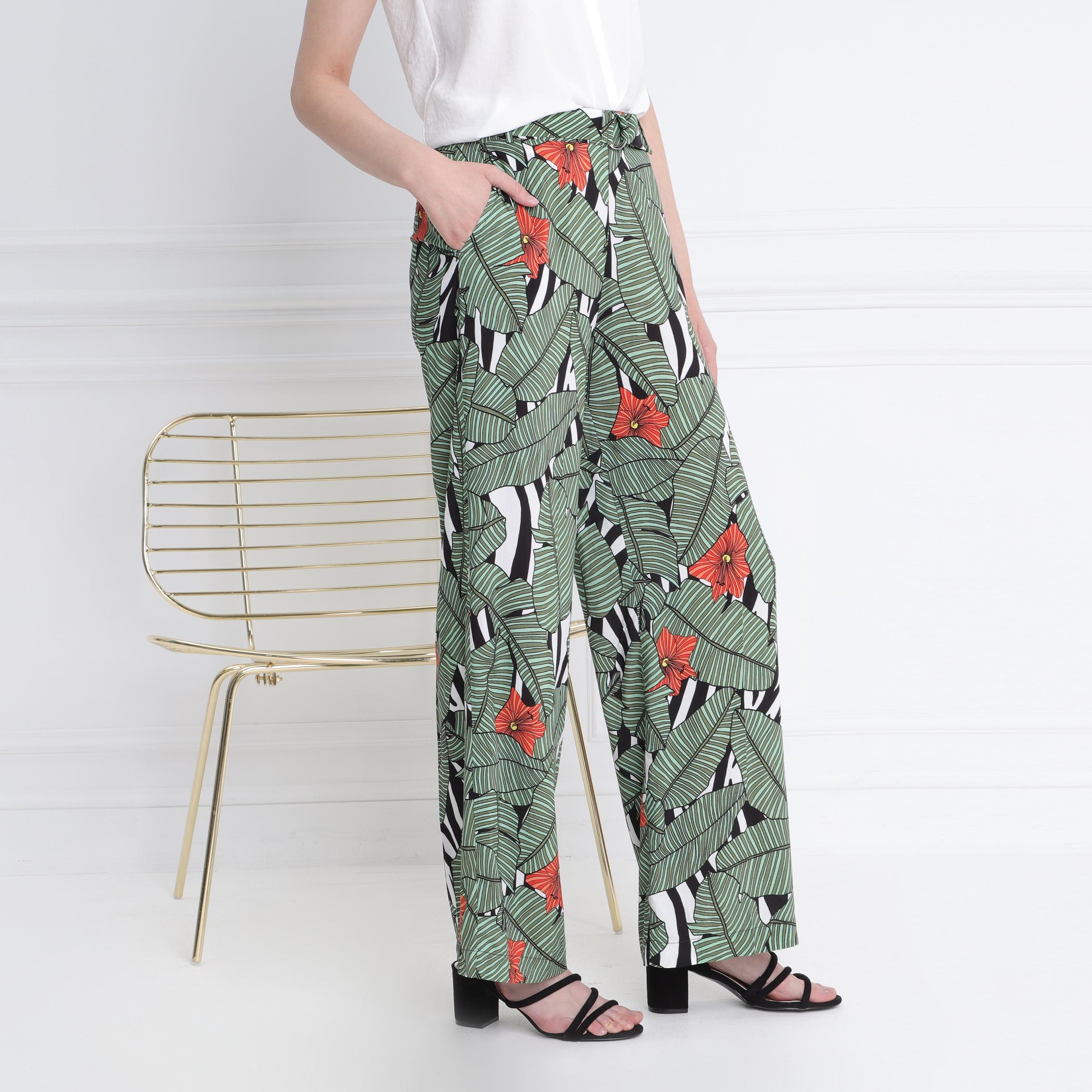Femme Vert Haute Taille Flou Pantalon YWEID92H