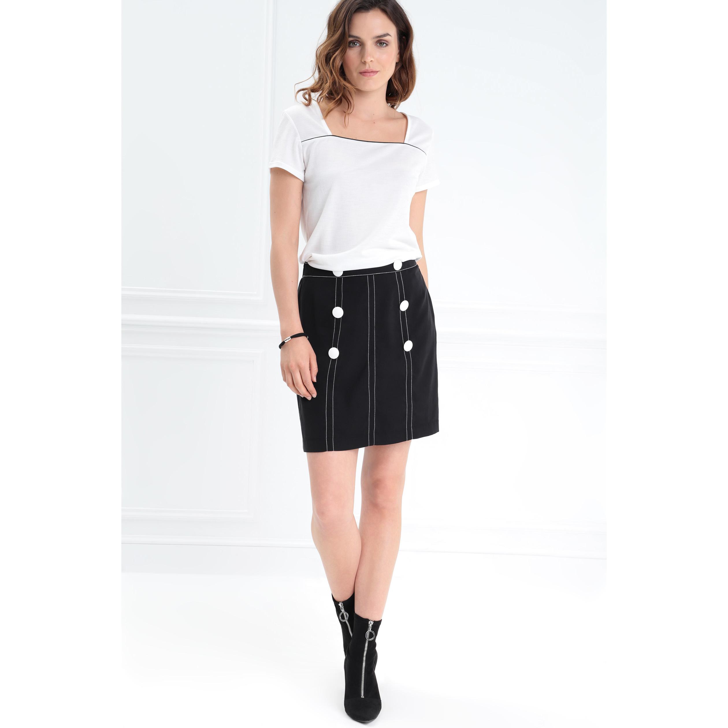 301e643a0b3a9a Jupe coutures contrastantes noir femme