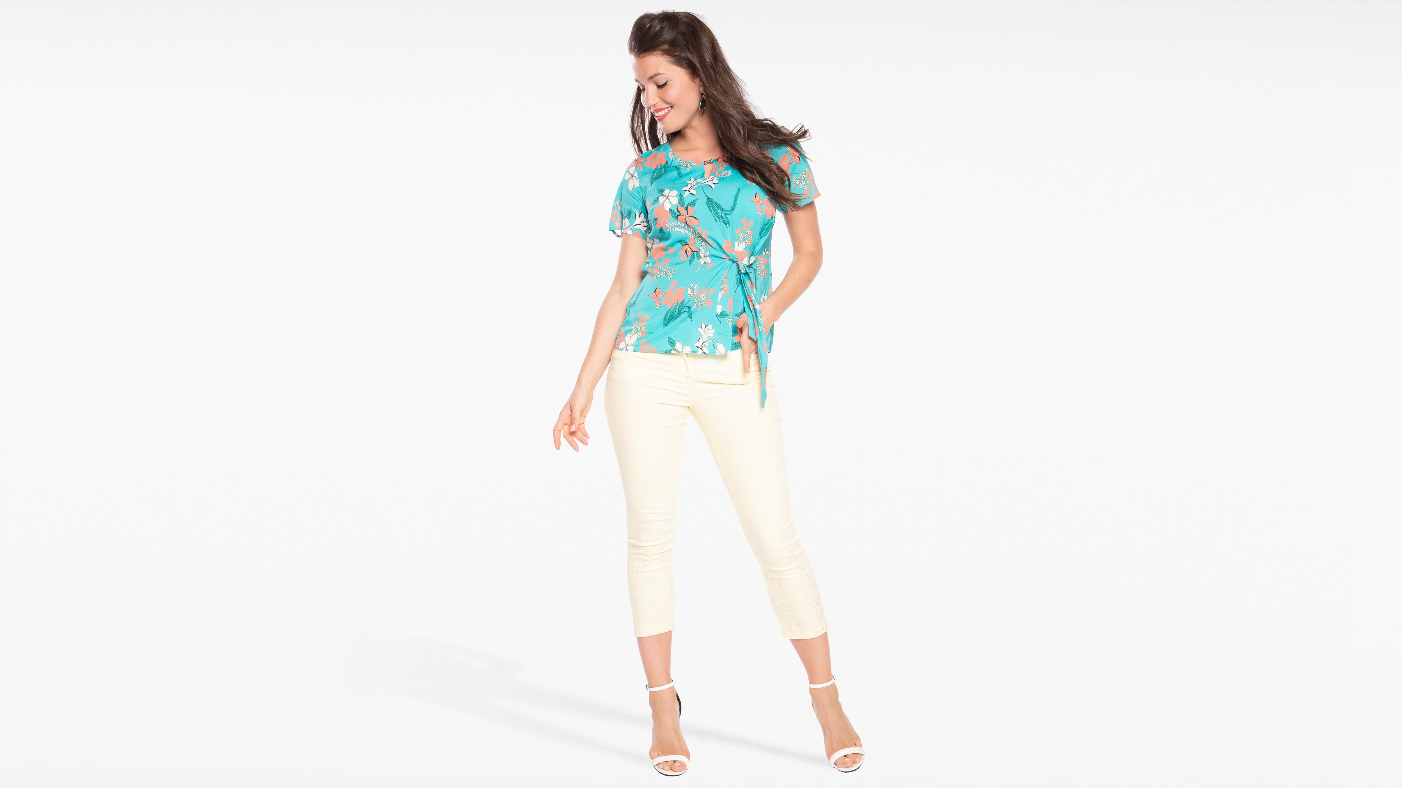 turquesa para mujer de corta verde Camisa manga thCxsQrd