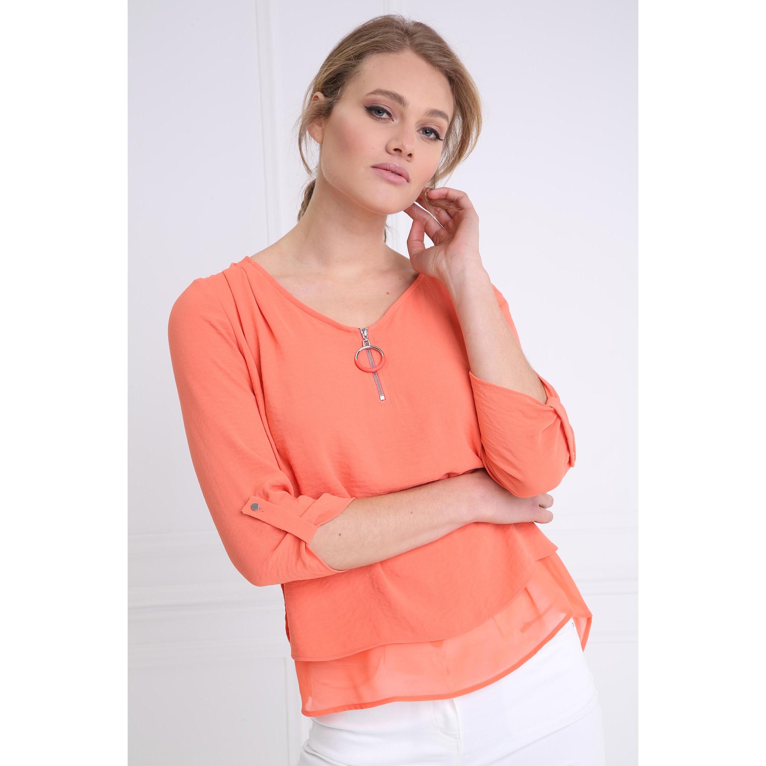 Femme Col En Orange V Bimatière Corail Chemise vP8nmyON0w