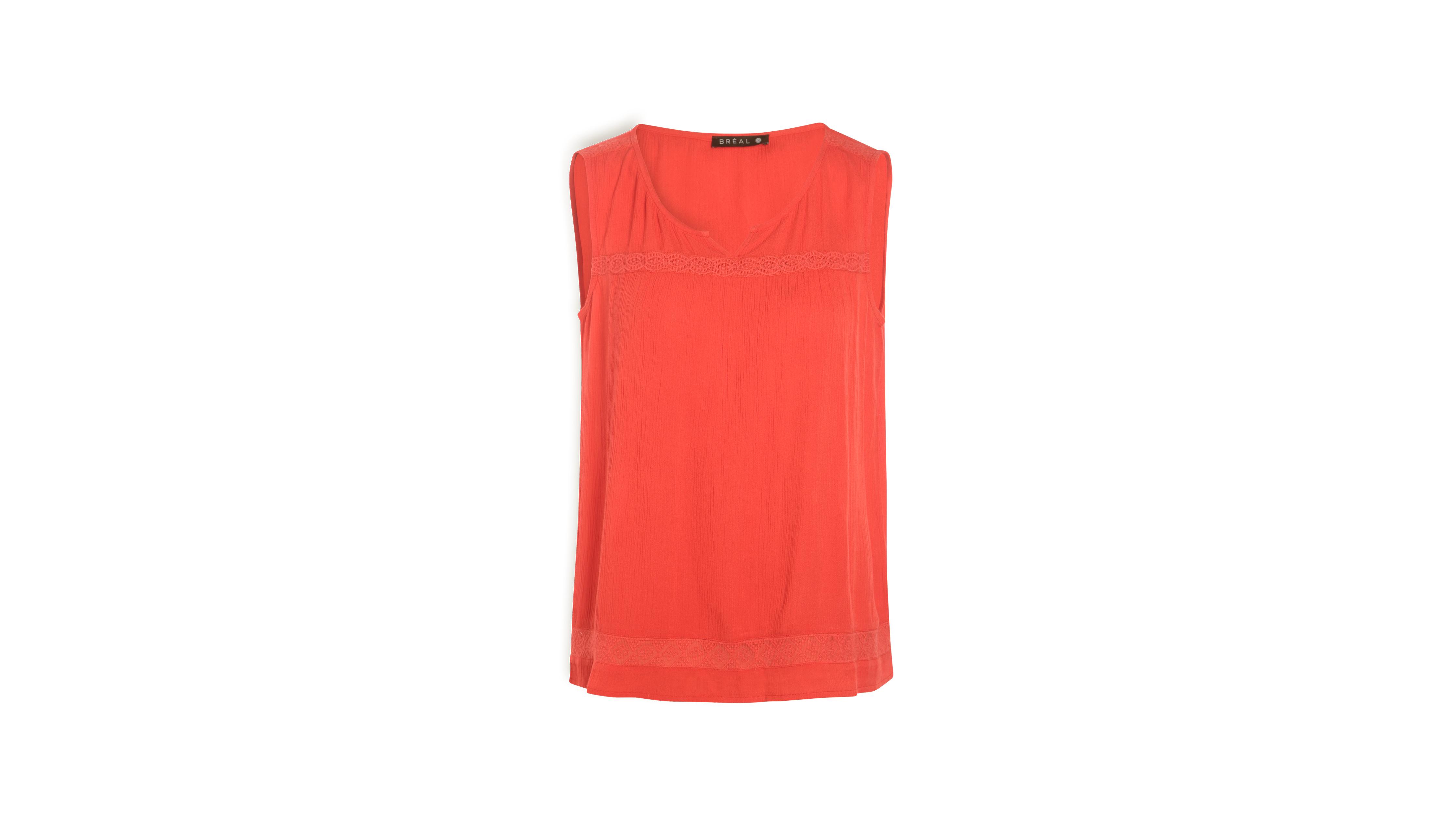 Camisa mangas sin para mangas Macramé sin fucsia mujer rosa nwPNZ80OkX