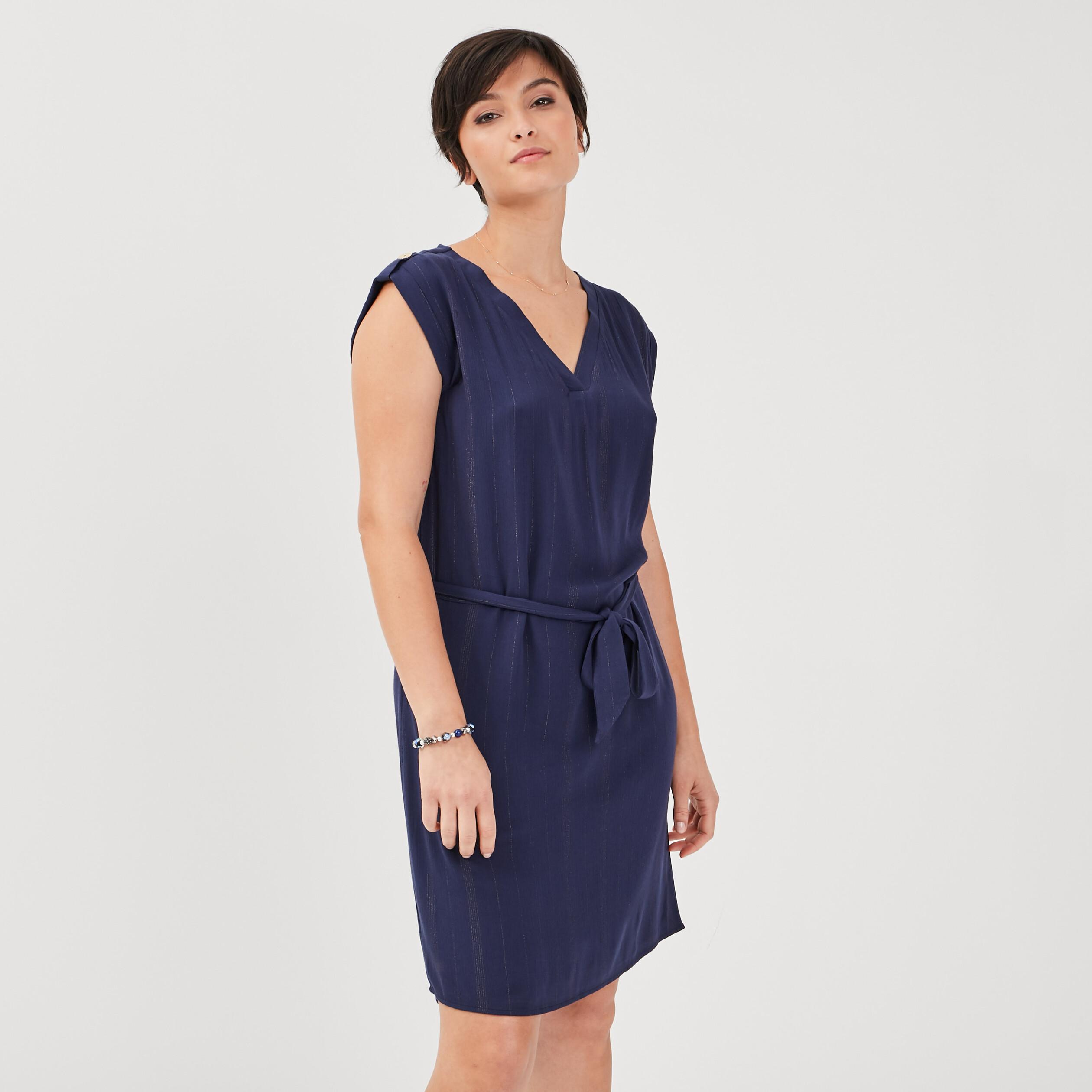 Robe droite ceinturée bleu marine femme |