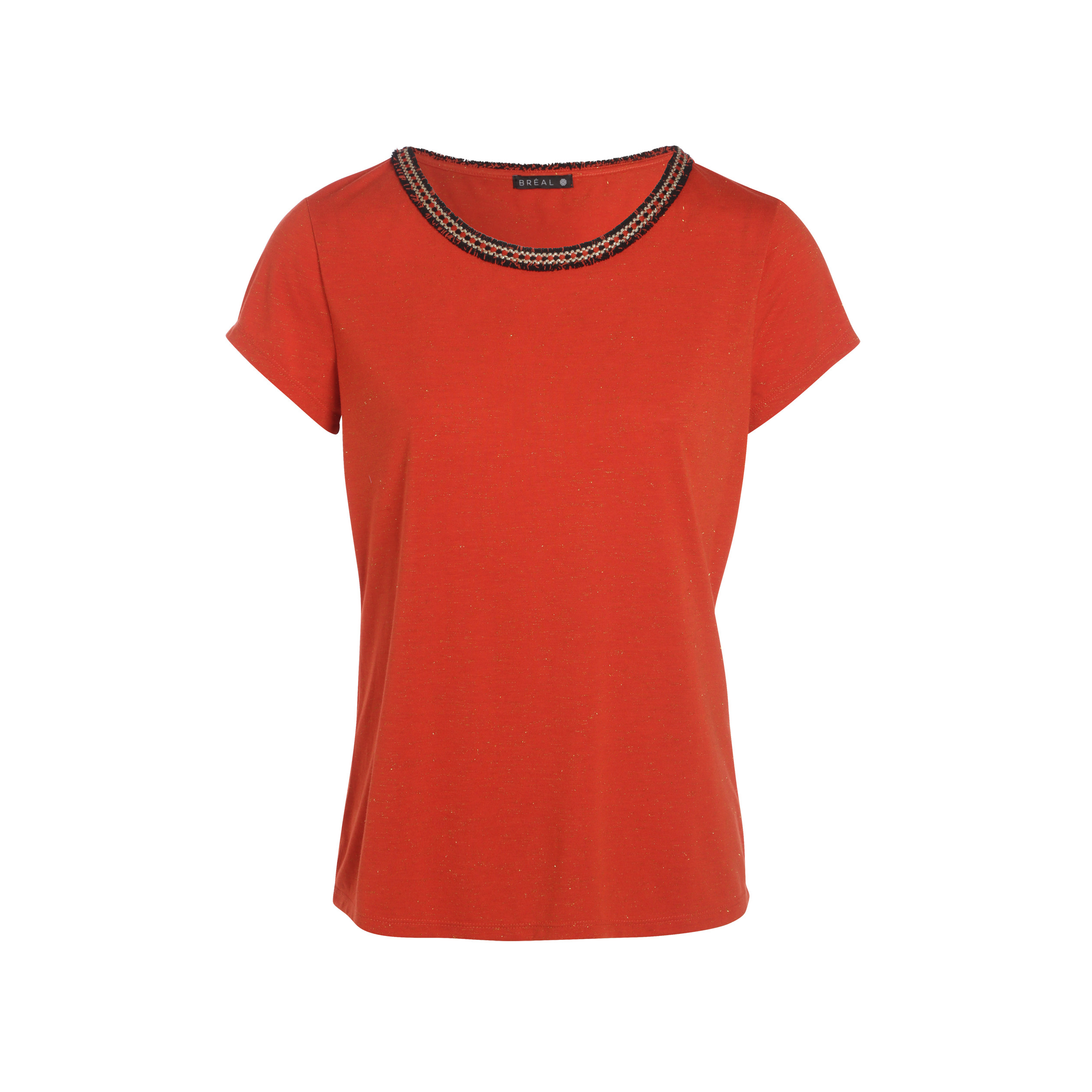 Manches Rouge Tee Shirt Hair Corail Femme Angel Courtes EHI2WD9
