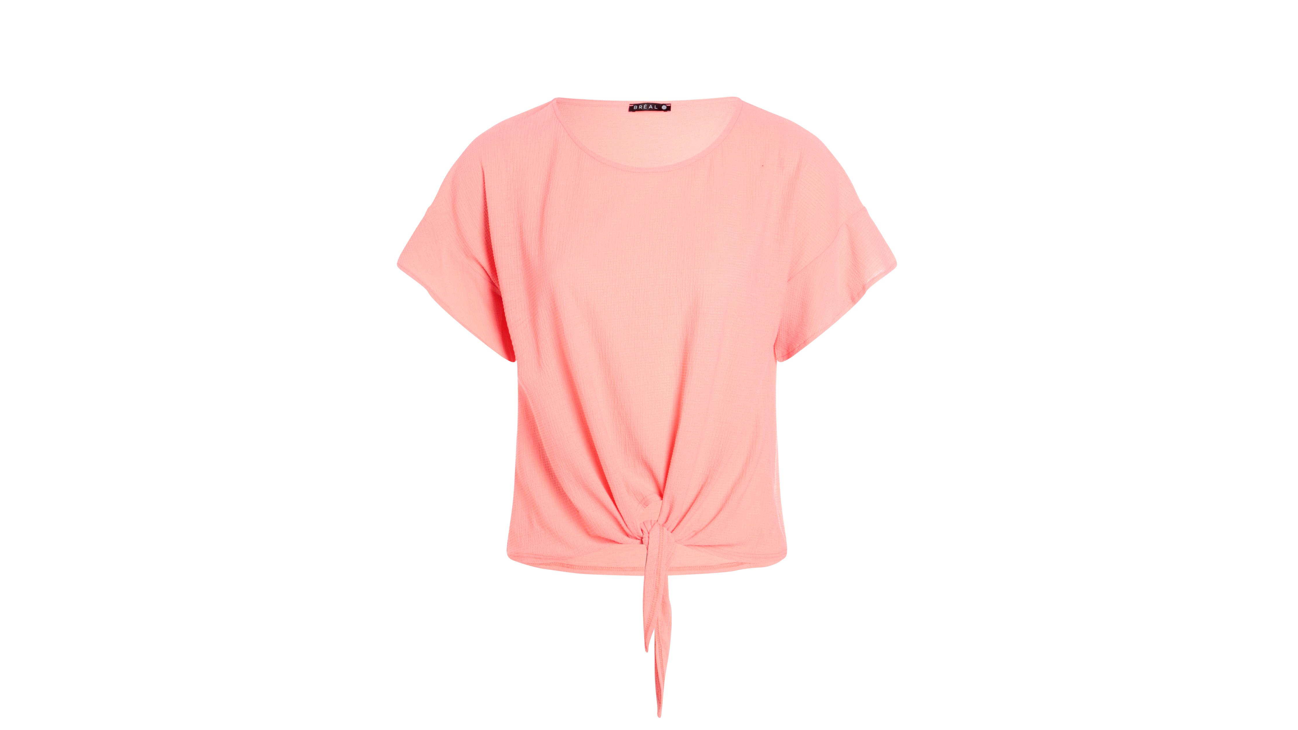 Nouer Léger Devant Shirt Corail Orange À Femme T JlcKF1