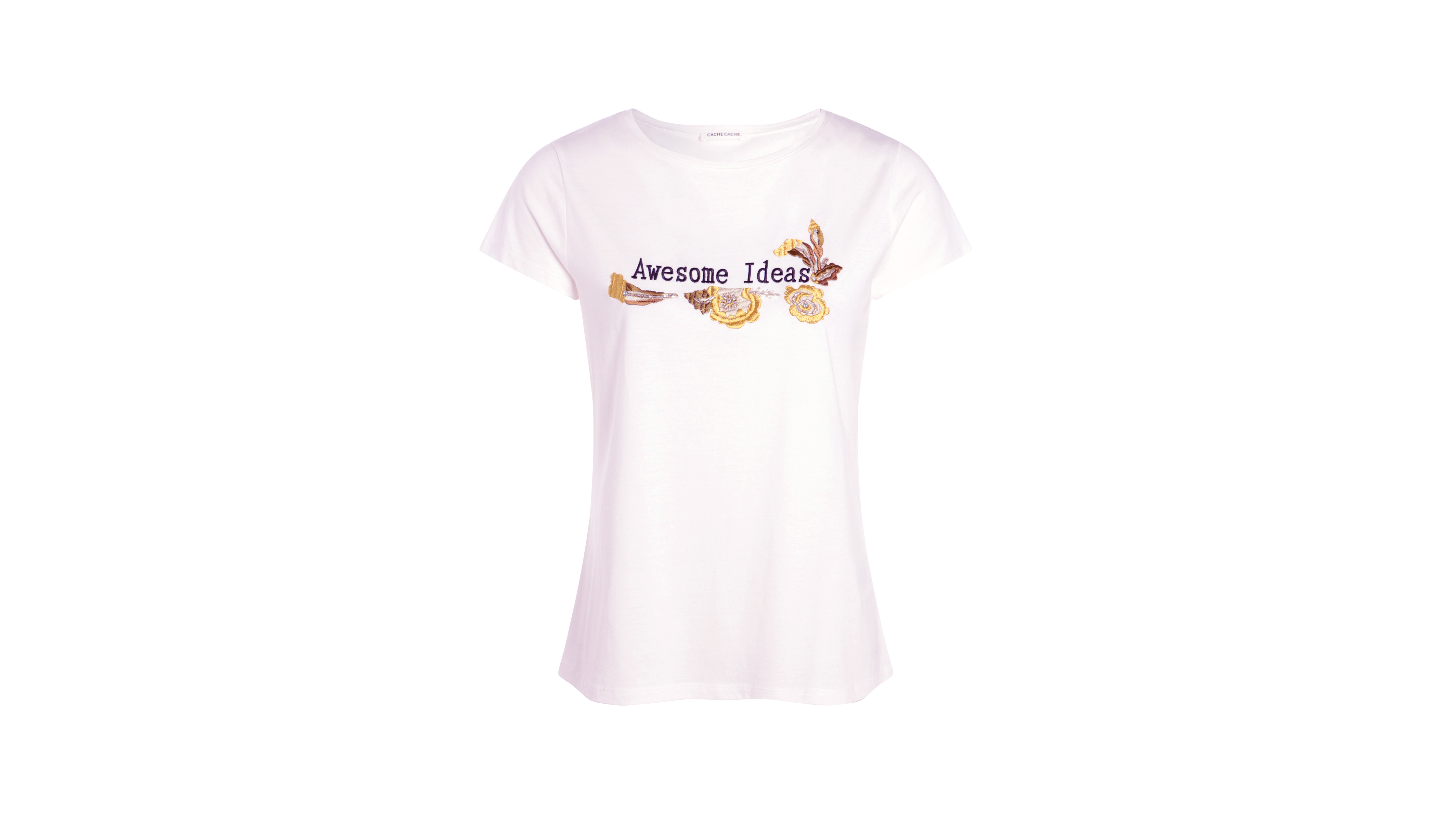 T Shirt Femme Broderies Message Et Blanc CxBoed