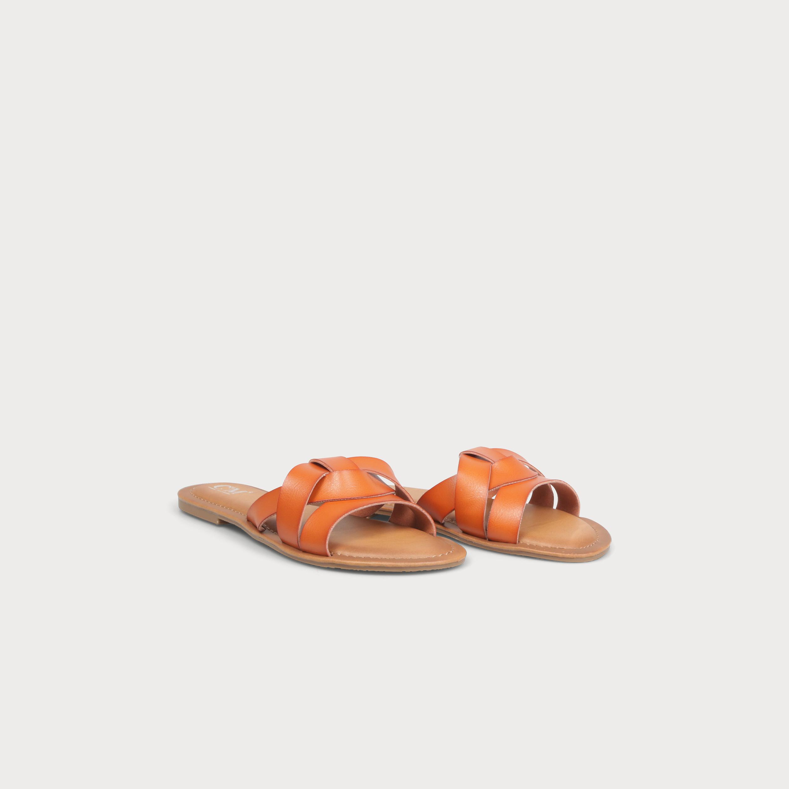 7560b533f3202b Sandales plates multibrides camel femme | Vib's