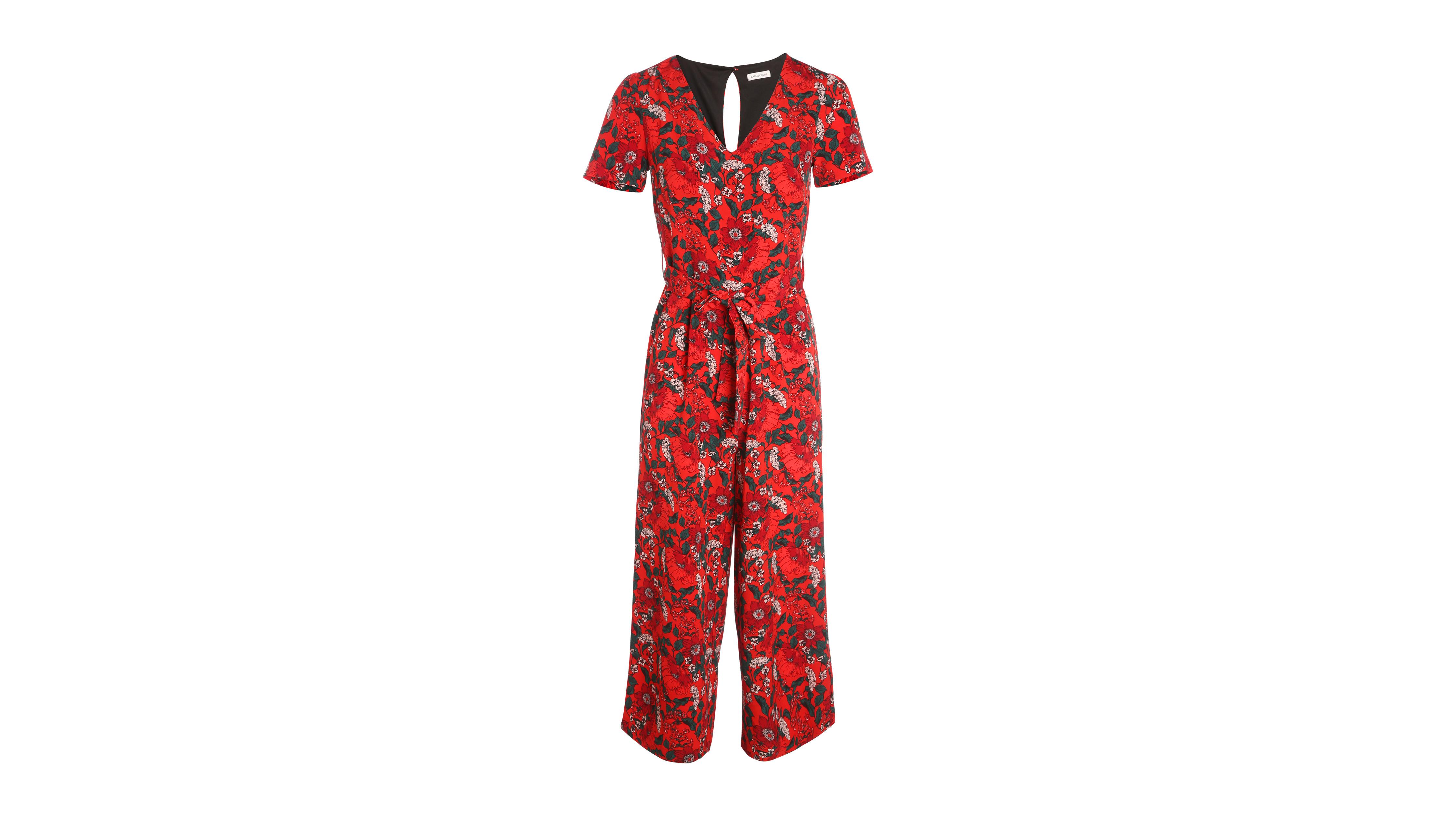 acheter pas cher 5805d 87bc1 Combinaison-pantalon col en V rouge femme