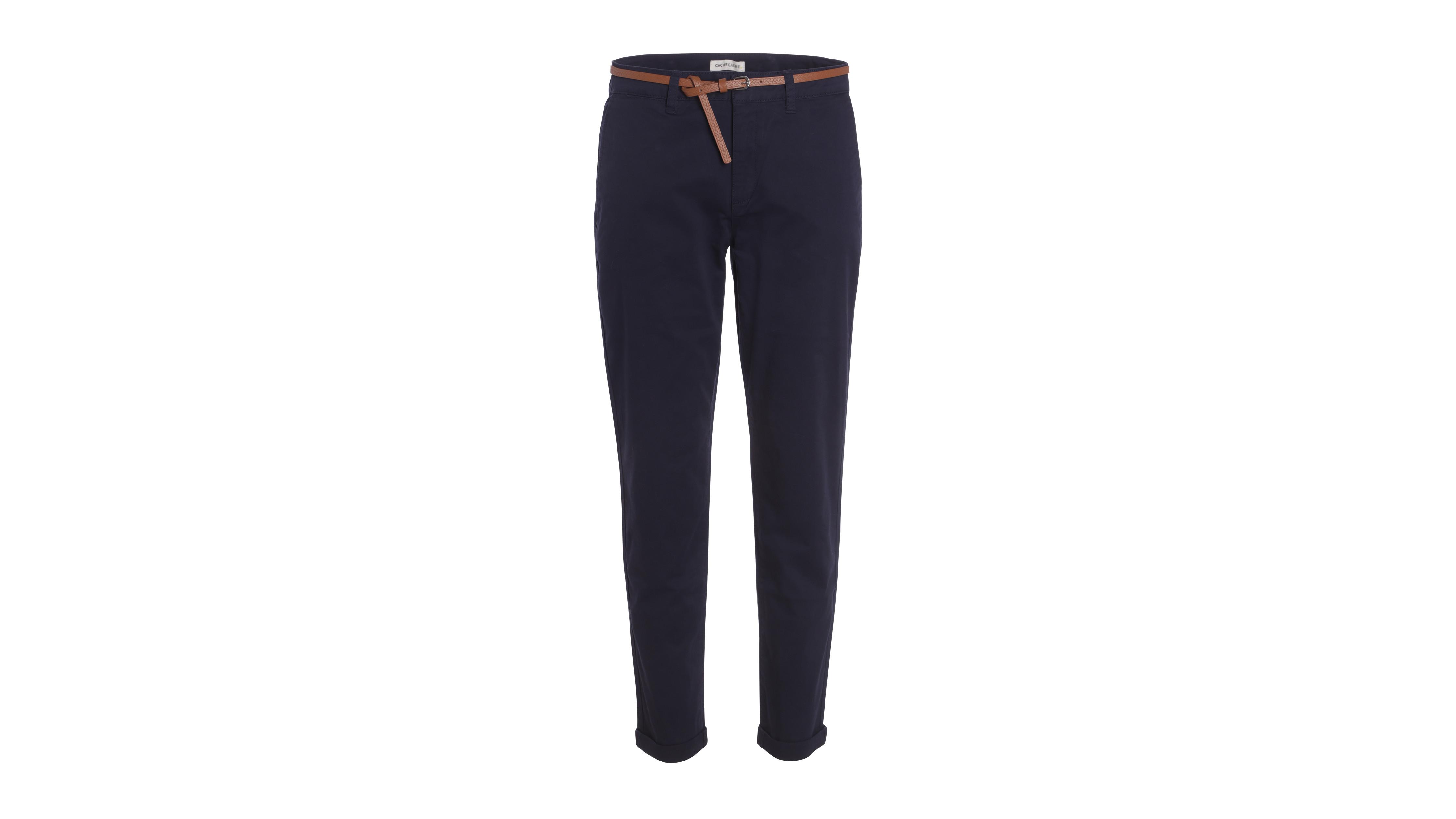7be6eee5b Pantalon chino avec ceinture bleu marine femme