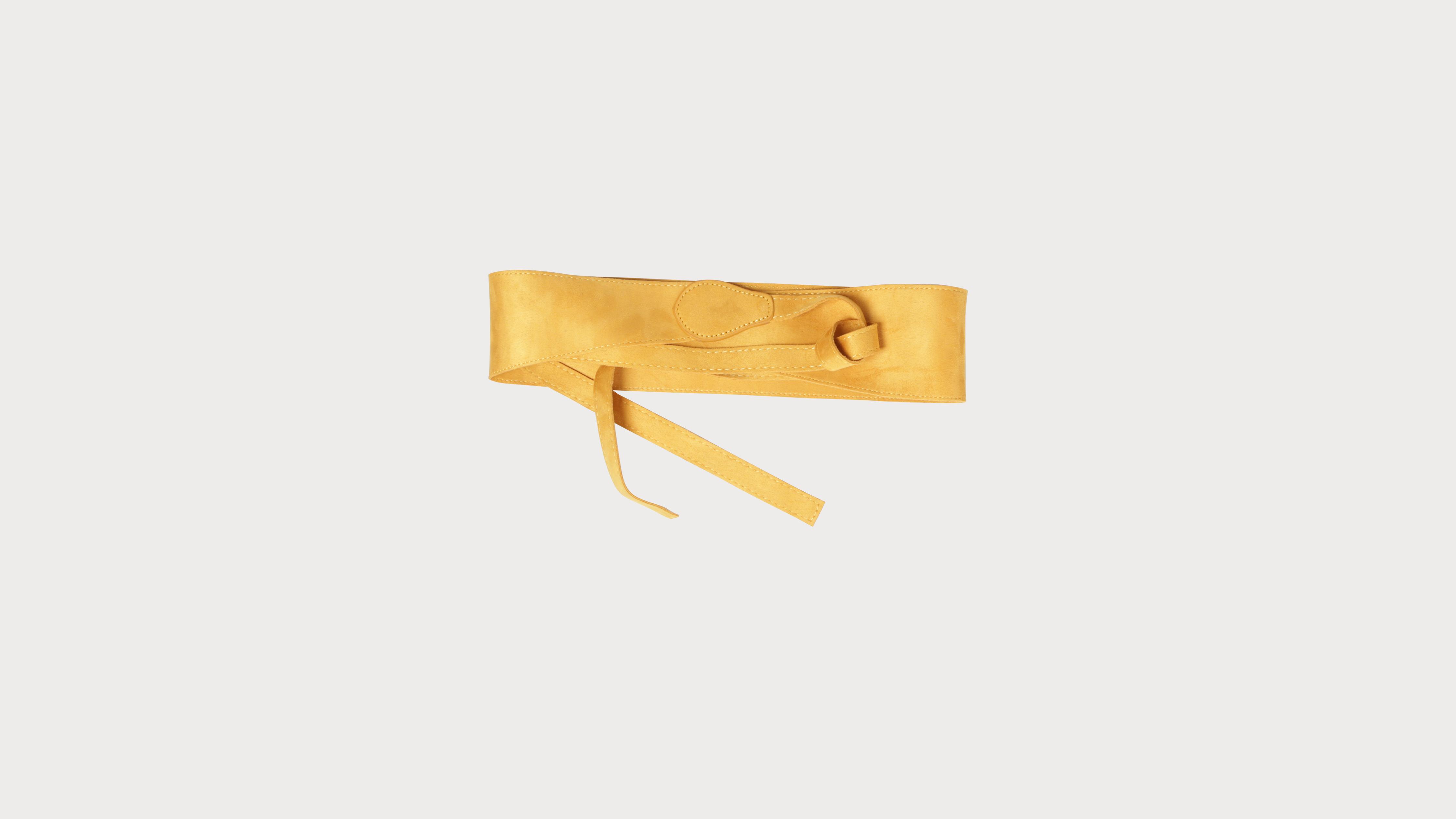 énorme réduction edb38 58922 Ceinture à nouer unie jaune moutarde femme
