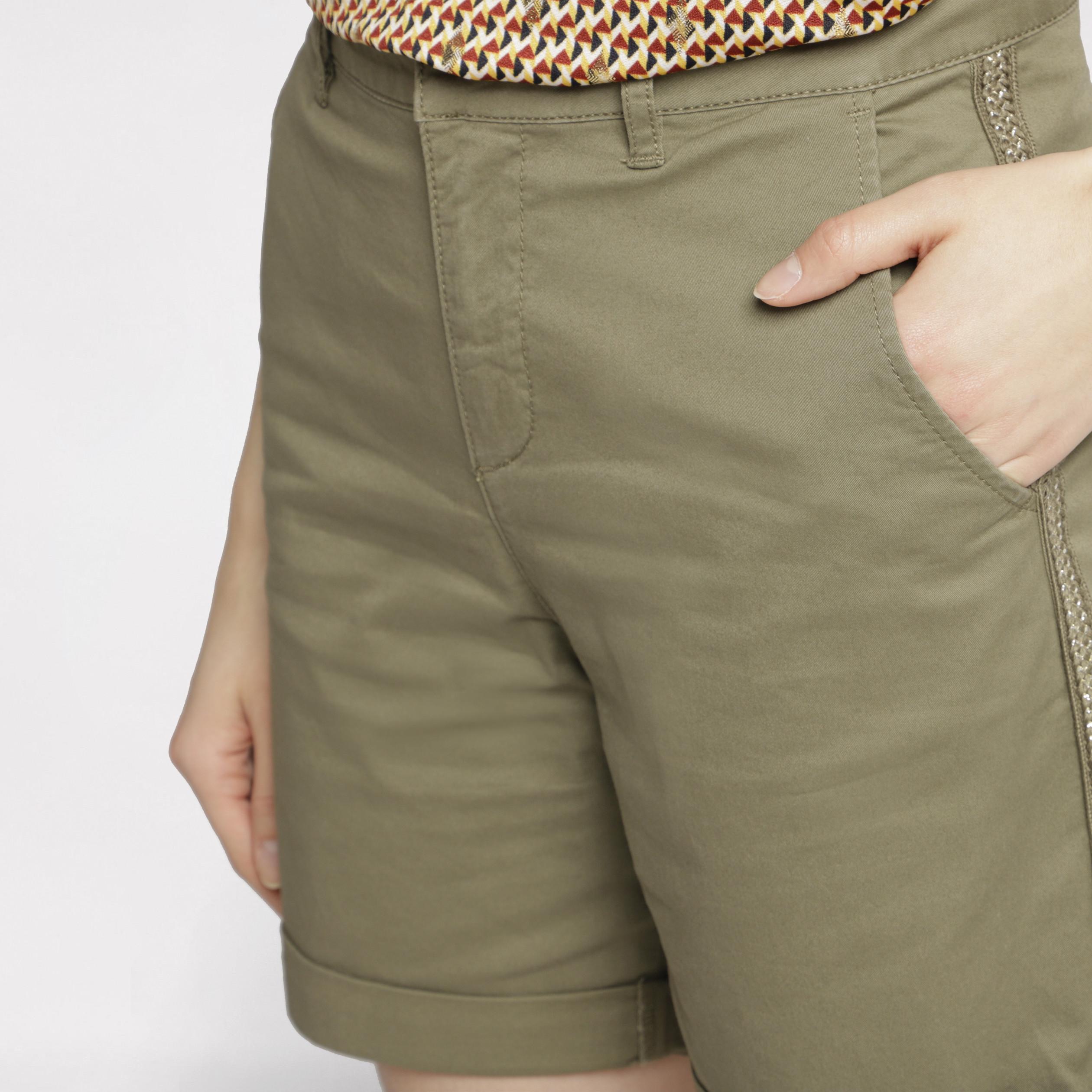 Kaki Droit Standard Taille Bermuda Femme Vert 4cARjq5L3