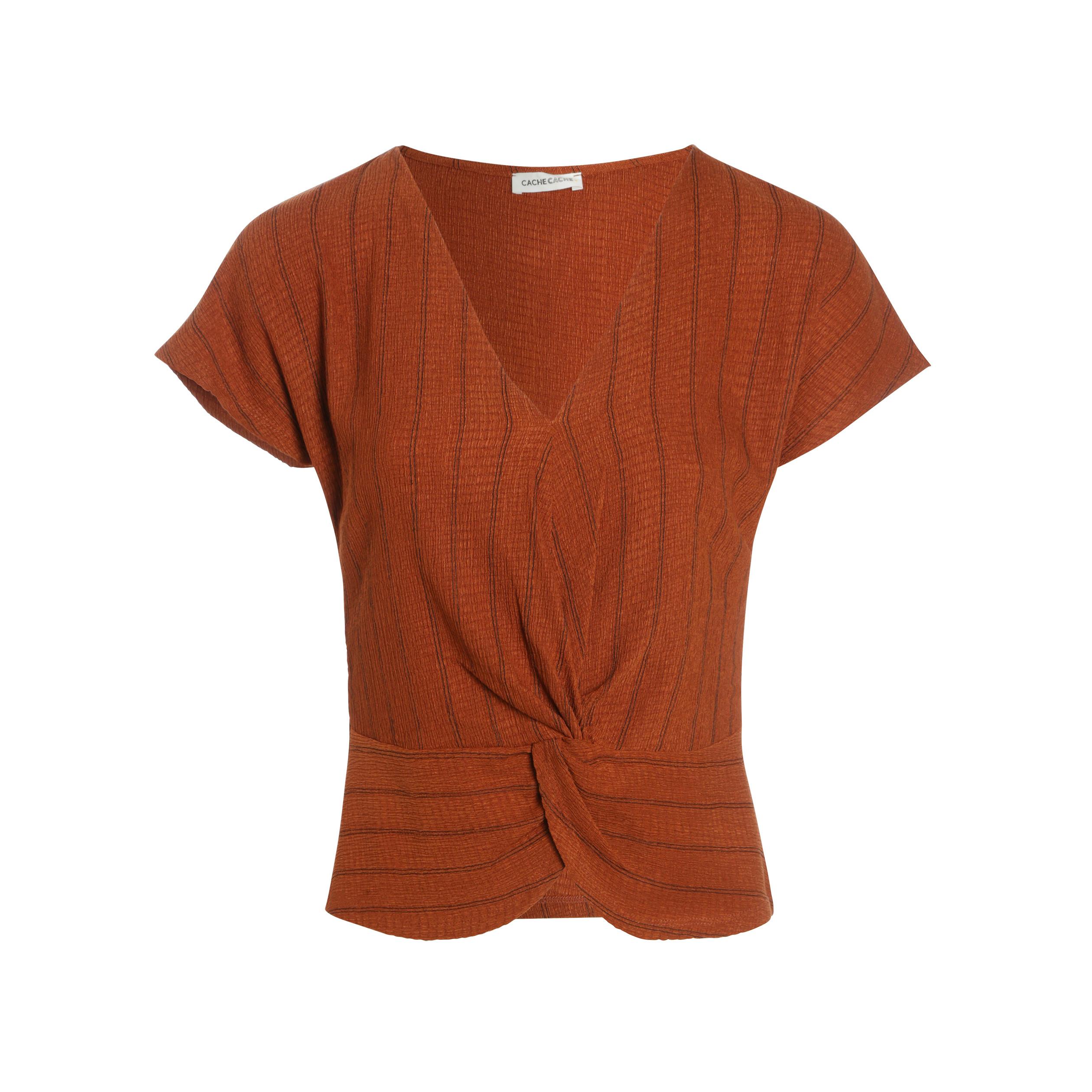 Courtes T Shirt Manches Camel Femme XZiOPku