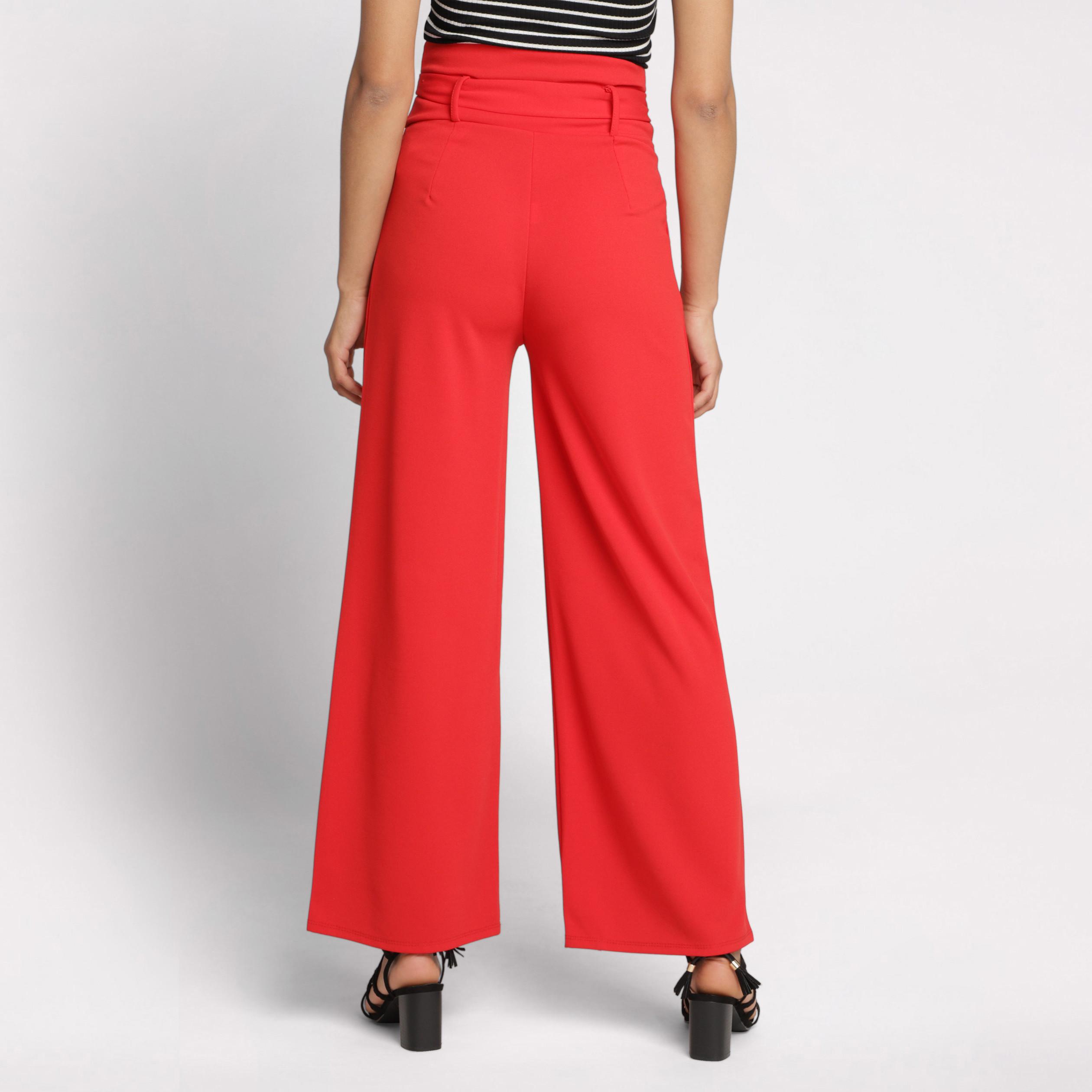 Rouge Large Haute Taille Femme Pantalon dQrCoWEBxe