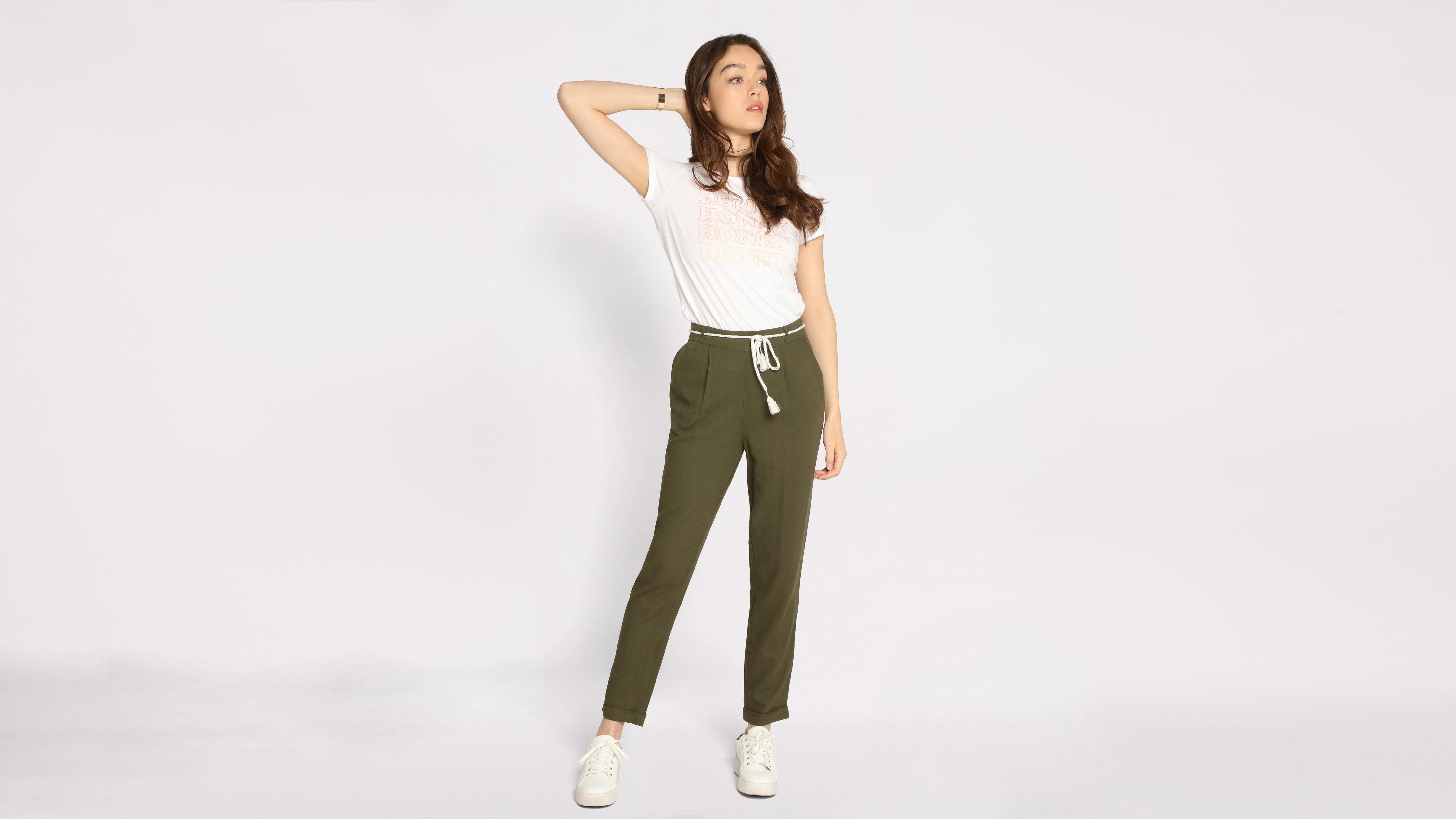 0d374d186802f Pantalon droit ceinture vert kaki femme | Vib's