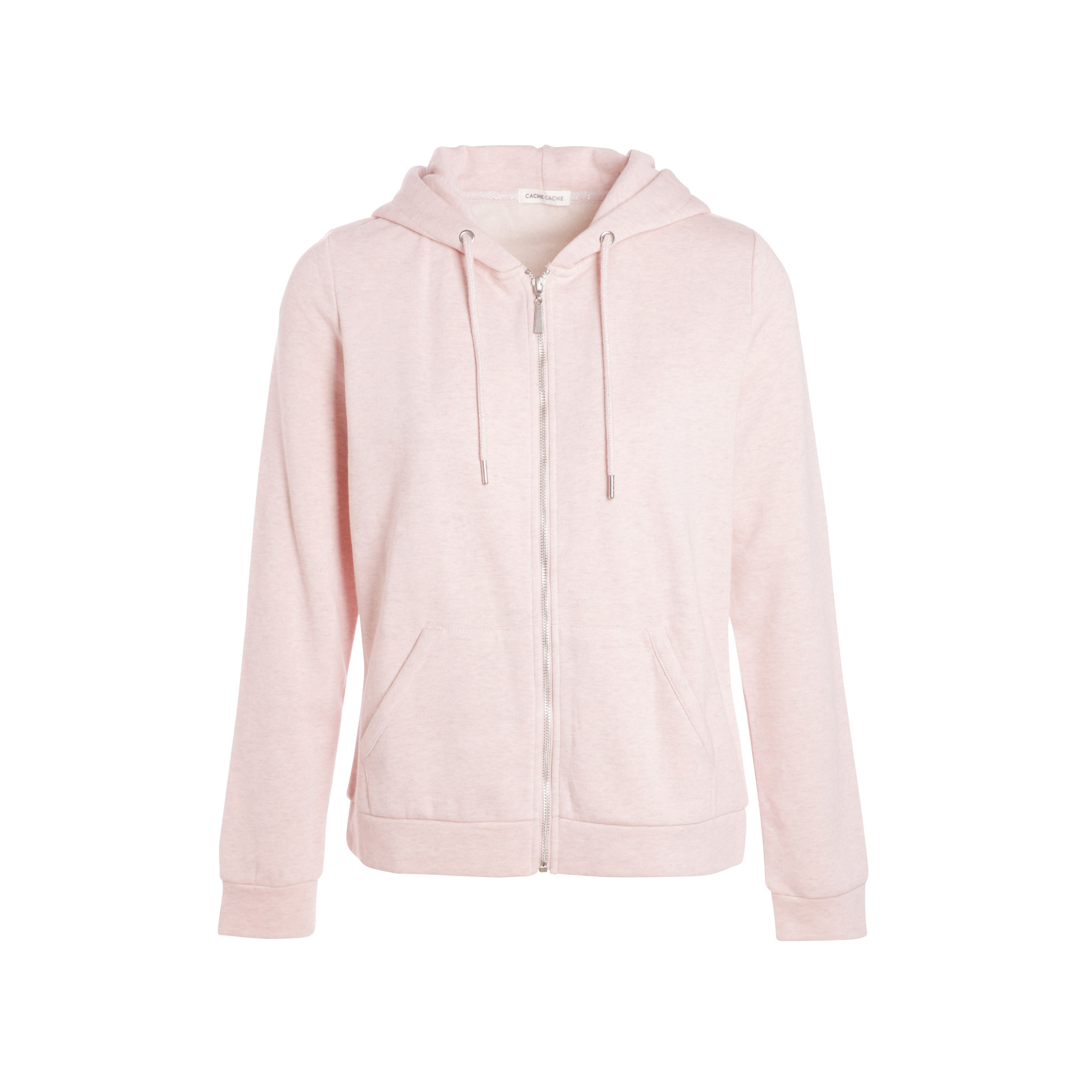 Sweat zippé capuche rose clair femme