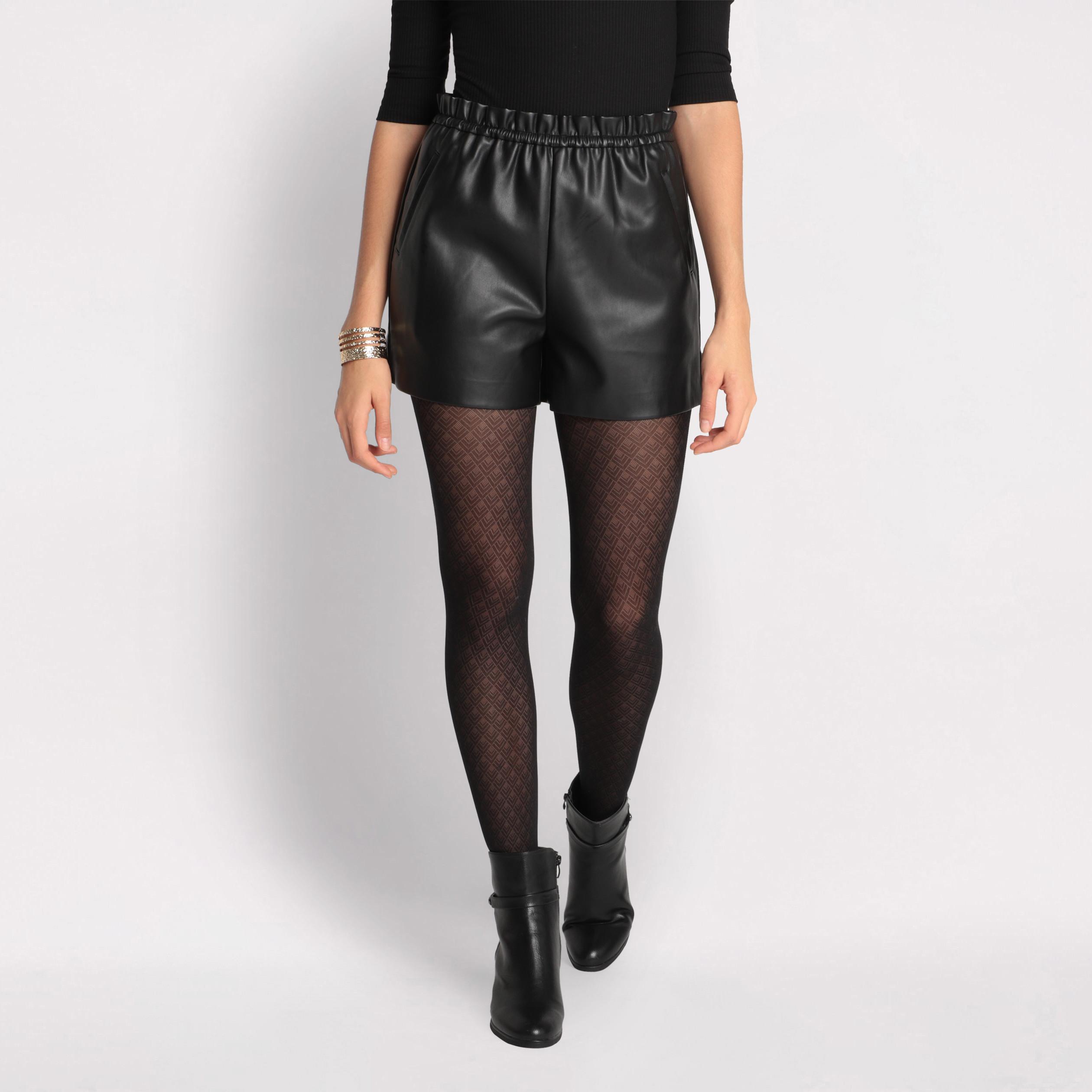 Short simili cuir noir femme   Vib's