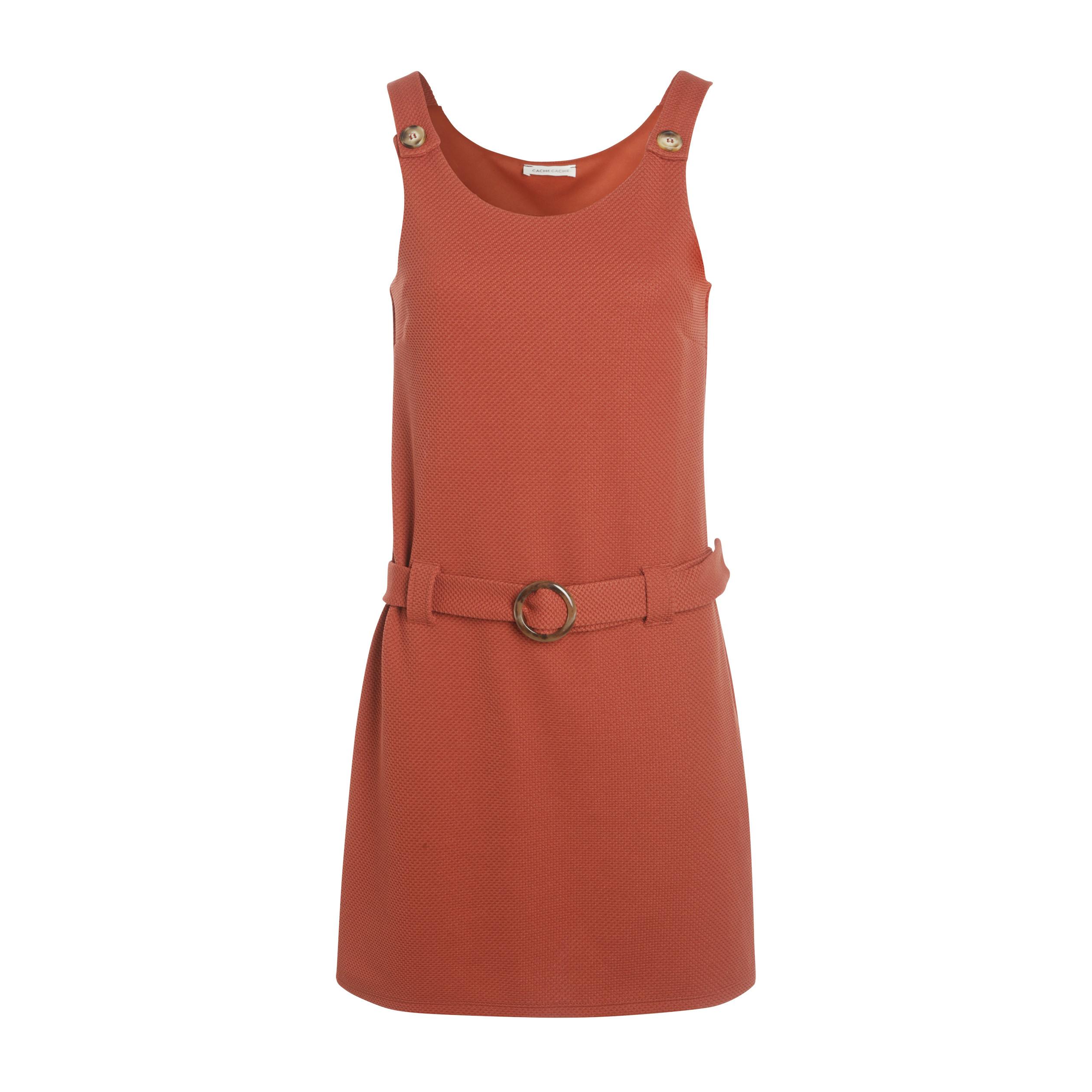 881945c6bc Robe salopette courte ajustée orange foncé femme | Vib's