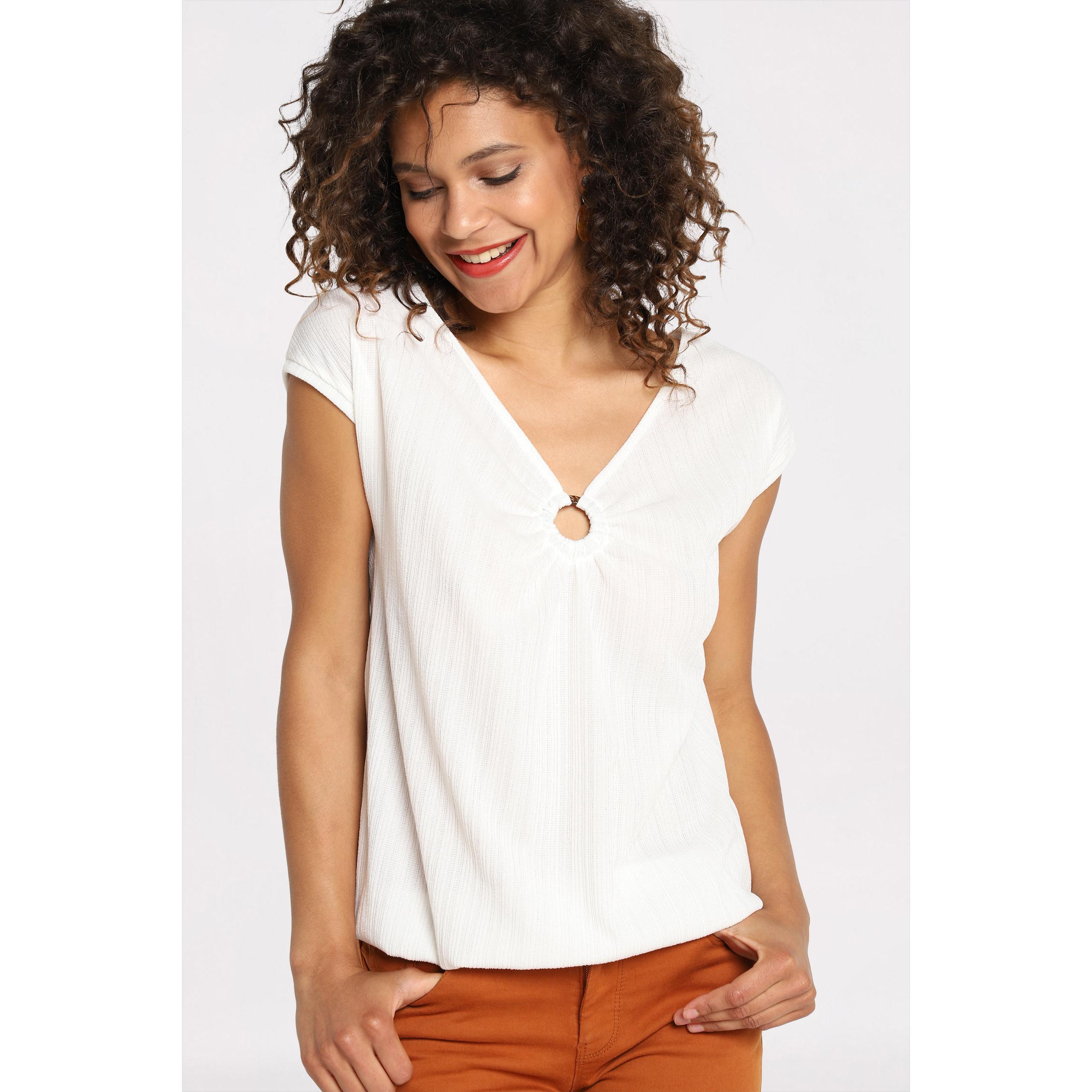 0c694b0ea481f T-shirt manches courtes anneau ecru femme