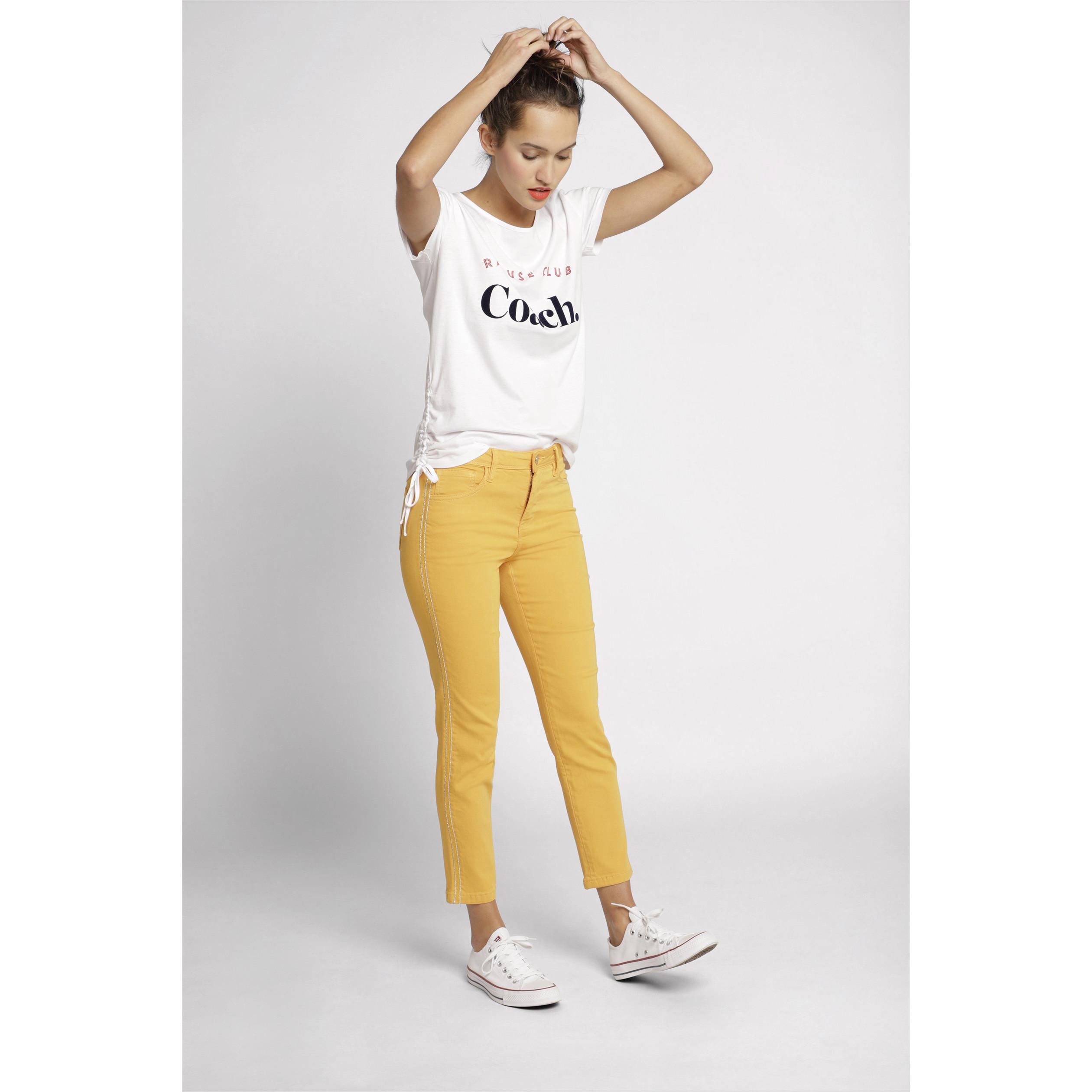 Or Pantalon Jaune Raccourci Femme Slim 0vO8nmNw