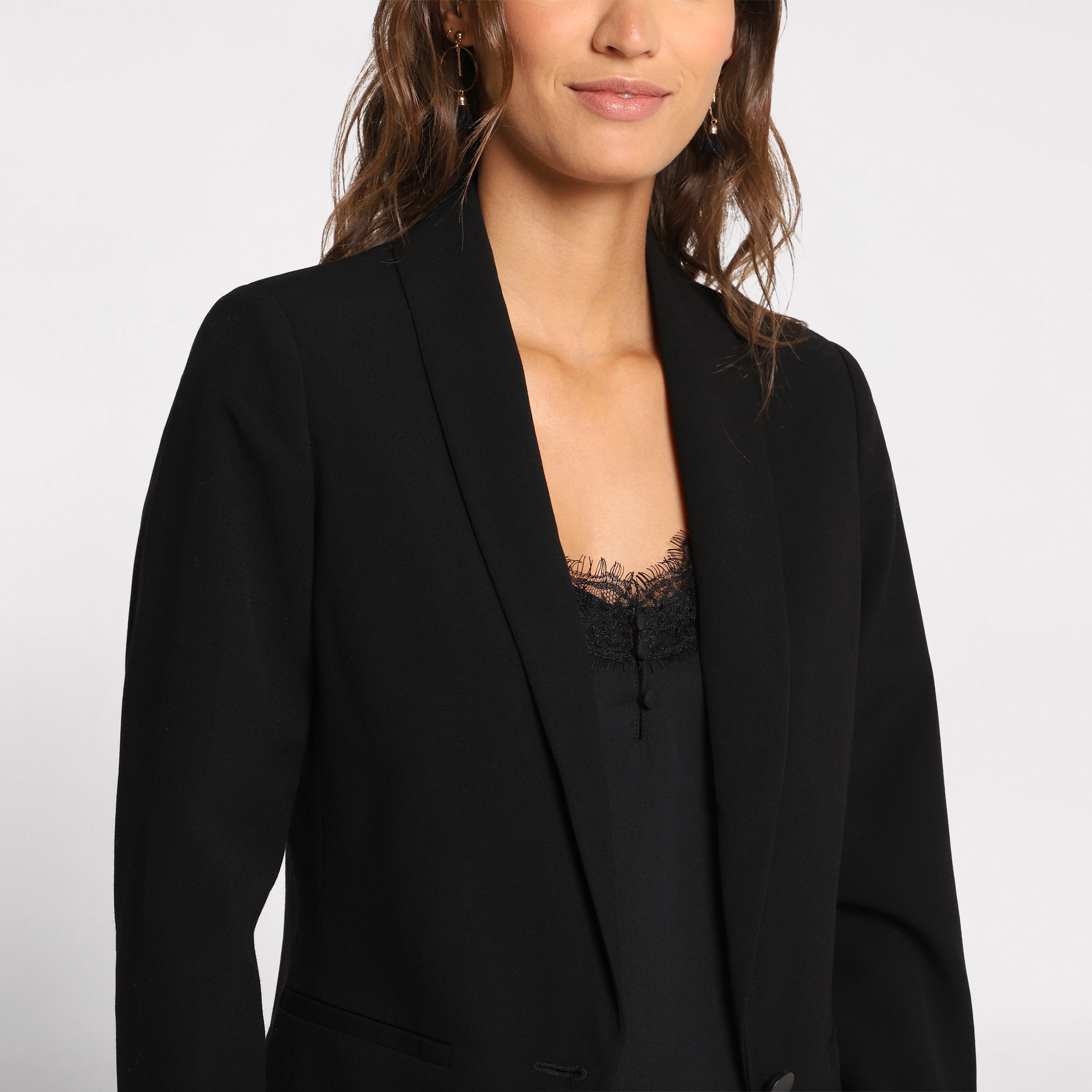 536cee4f4bb5b Veste blazer cintrée noir femme | Vib's