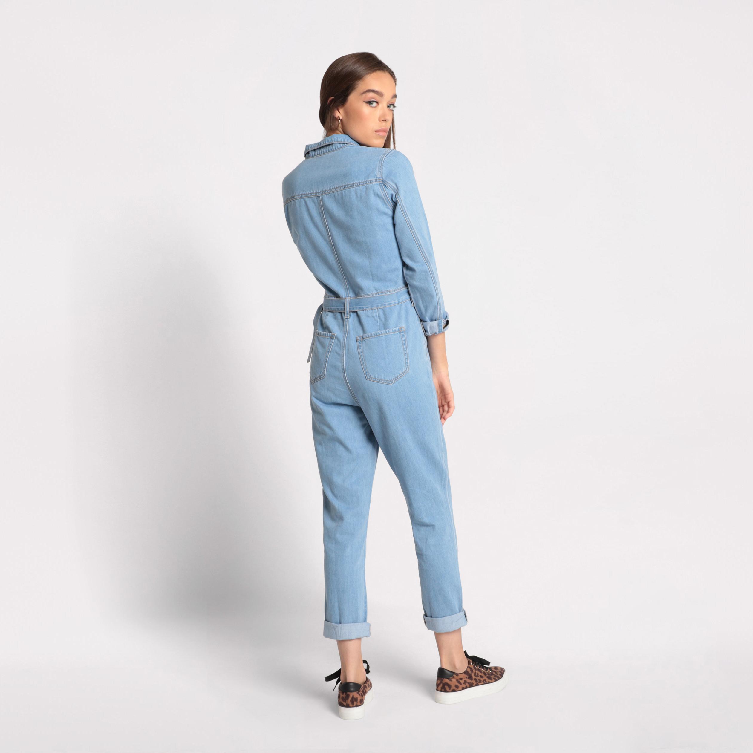 En Stone Denim Combinaison FemmeVib's Jean Pantalon Double kO8n0wP