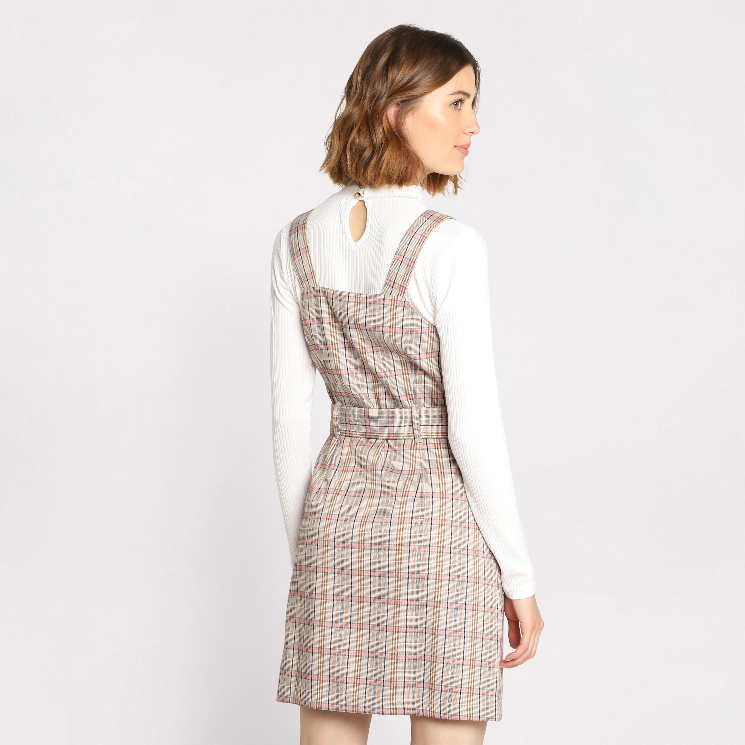 091003dcfbb457 Robe salopette à ceinture beige femme