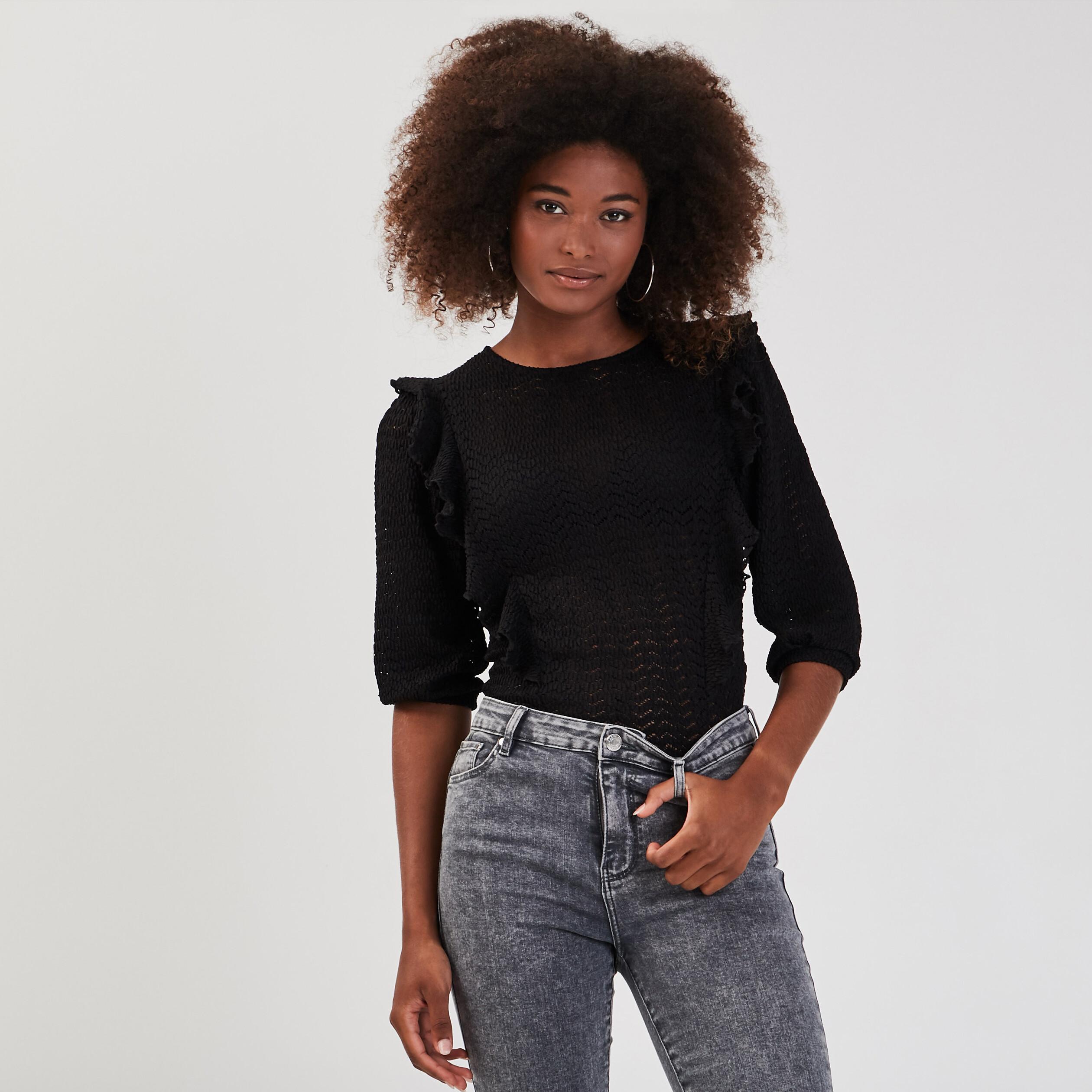 Vivance Femmes Shirt Viscose Chemise Taille 34 à 40 noir 770 avec dentelle NEUF